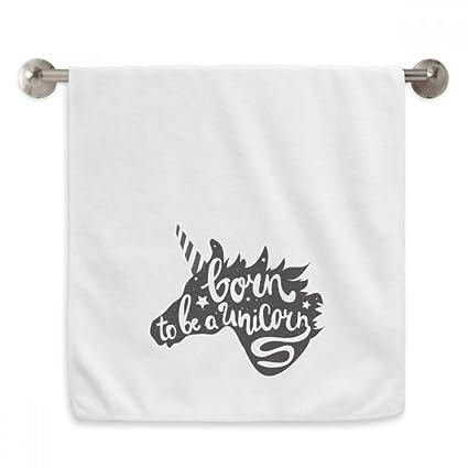 DIYthinker Nacido Unicornio Negro Blanco Cita Circlet Blanca Toallas Suaves Toalla toallita 13x29 Pulgadas 13 x