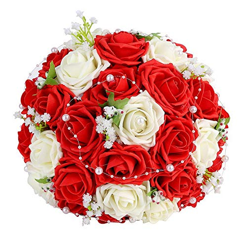 (Gatton ding Bridal Bouquet, ding Bride Bouquet, ding Holding Bouquet with Artificial Roses Lace Pearl Ribbon, Party and Home Decor(Heart Pearl, White+Red) | Model WDDNG - 102)