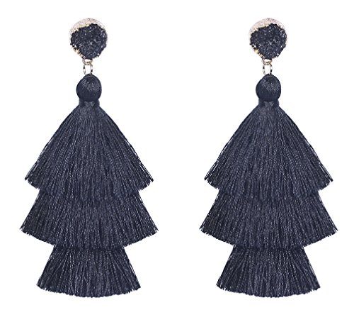Vesungimey Tassel Earrings - Layered Long Large Bohemian Dangle Drop Druzy Stud Statement Earrings For Women(14 colors available)