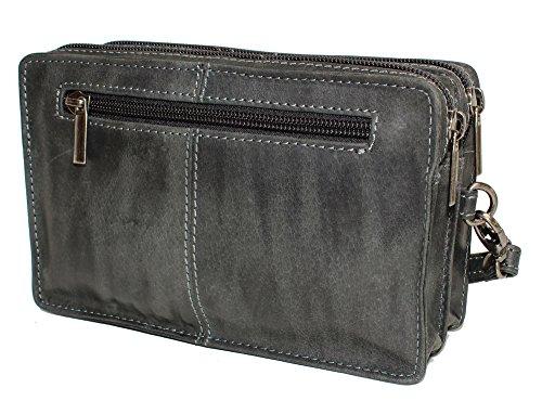 Arm-Gelenktasche Handgelenktasche Tasche Herrengelenktasche Herrentasche Leder handpolierte Oberfläche neu Schwarz HP1416
