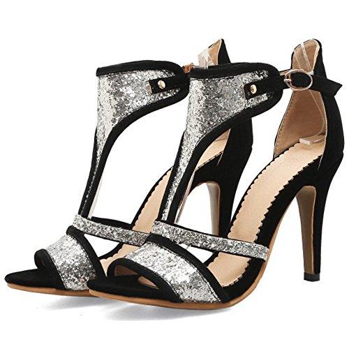 T Klassisch Schnalle Damen High Heel Toe Schwarz Open Sandalen TAOFFEN Strap Party x6I7nnZ