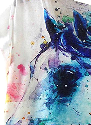 Futurino-Womens-Dream-Mysterious-Horse-Print-Short-Sleeve-Tops-Casual-Tee-Shirt