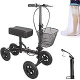 Steerable Knee Roller Walker Crutch Alternative Knee Scooter 4 wheels for Adults Foot Injuries with Basket (Black)