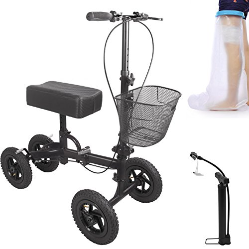 17' Floor Pads (Knee Roller Walker Crutch Alternative Steerable Knee Scooter 4 Wheels for Adults Foot Injuries with Basket (Black))