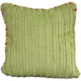 Crayon Lime Chenille Pillow with Stripe Cord