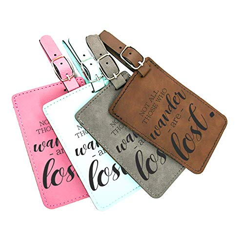 Stylish Leatherette luggage tag with famous travel quote - Not all those who wander are lost. - Teal