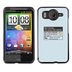 // PHONE CASE GIFT // Duro Estuche protector PC Cáscara Plástico Carcasa Funda Hard Protective Case for HTC G10 / La vida le da Limón /