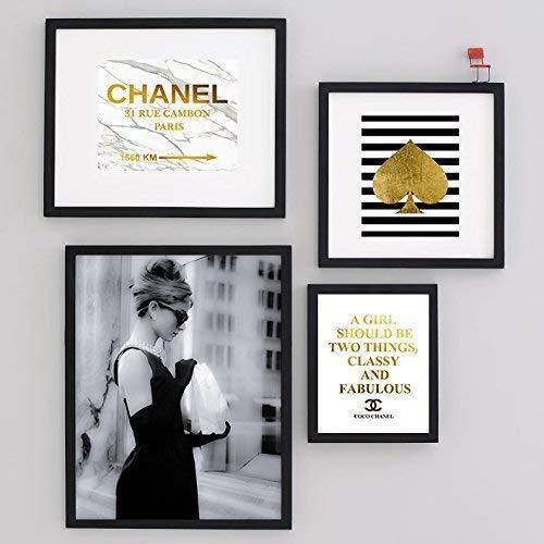 Set of four Art Print Audrey Hepburn Black Art Photo Breakfast at Tiffany's gold foil Vogue Home Room Decor Wall Large poster 0496
