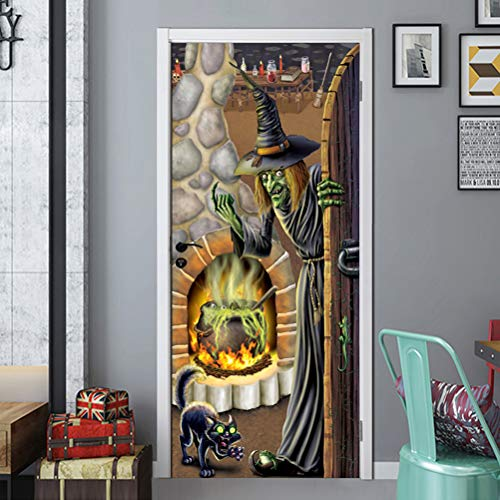 Li-shan Halloween Witch's Brew Door Cover, Horror Decoration for Halloween Theme ()
