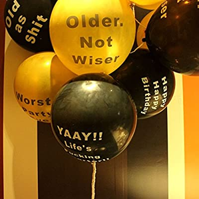 Amazon Abusive Birthday Balloons Naughty Funny Offensive For Her Him Adults Party Gold Black
