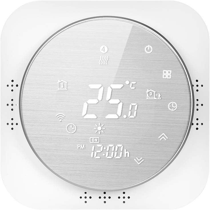 Termostato WiFi para caldera de gas de pared, termostato inteligente pantalla LCD (panel cepillado) Touch Button retroiluminado programable con Alexa Google Home y teléfono APP-blanco