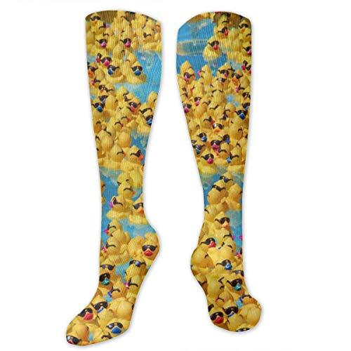 Performance Compression Comfort Fit Socks Gym Cute Rubber Yellow Ducks With Sunglasses Athletic Socks Hunting Cushion Crew Socks Moisture Wicking Stocking Quick Dry Medium Socks
