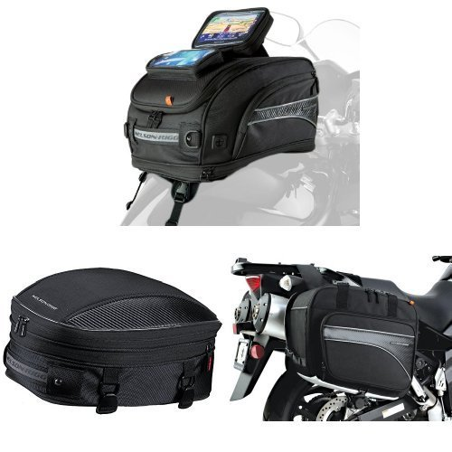 Nelson-Rigg CL-2020-ST Strap Mount Tank Bag,  CL-1060-S Black Sport Tail/Seat Pack,  and  (CL-855) Black Touring Adventure Saddlebag Bundle