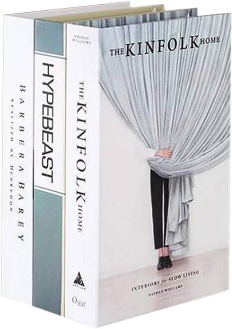 LIOOBO Packung mit 3 Fake Book Dekoration Prop Simulation Buch Ornamente f/ür Hotel Book Room Store Zuf/älliges Muster