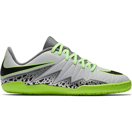 d31c33337 Nike Kids HypervenomX Phelon II Indoor Pure Platinum Black Ghost Green Shoes  - 12.5