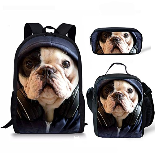 (FOR U DESIGNS 3D Animal Bulldog School Bag Backpack with Pencil Case Lunchbox)