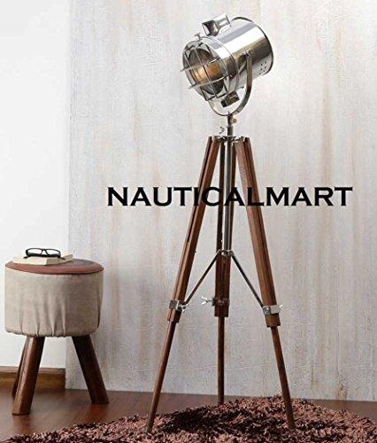Decorative Chrome Finish Search Light Tripod Floor Lamp By Nauticalmart by NAUTICALMART