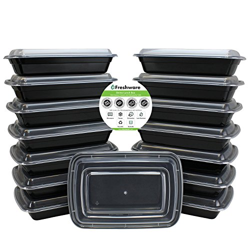 Freshware 15-Pack 1 Compartment Bento Lunch Boxes with Lids - Stackable, Reusable, Microwave, Dishwasher & Freezer Safe - Meal Prep, Portion Control, 21 Day Fix & Food Storage Containers (28oz) (Cheap Hot Plates compare prices)