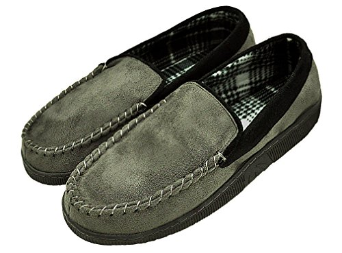 MIXIN Men's Casual Pile Lined Indoor Outdoor Rubber Sole Micro Suede Moccasin Flats Slippers Grey and Black Size 13