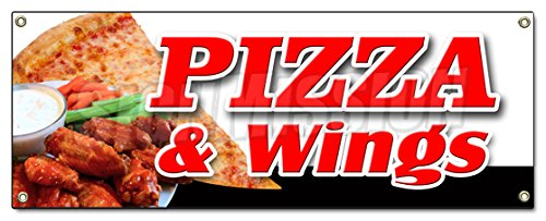 PIZZA & WINGS BANNER SIGN brick oven new york chicago italian spicy SignMission