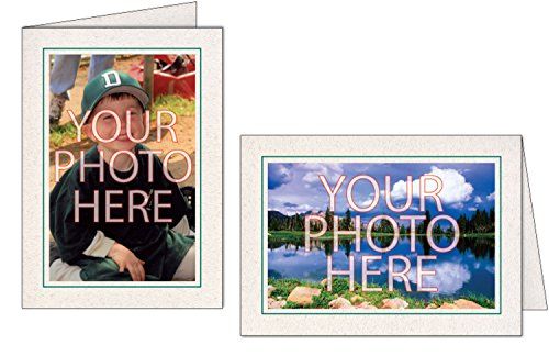 Photographer's Edge, Photo Insert Card, Natural with Single Border, Set of 10 for 4x6 Photos - Amazon Green by Photographer's Edge