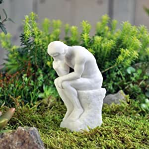 "Thinker Statue Miniature Garden Fairy Accessory 3.25"" Inches High"