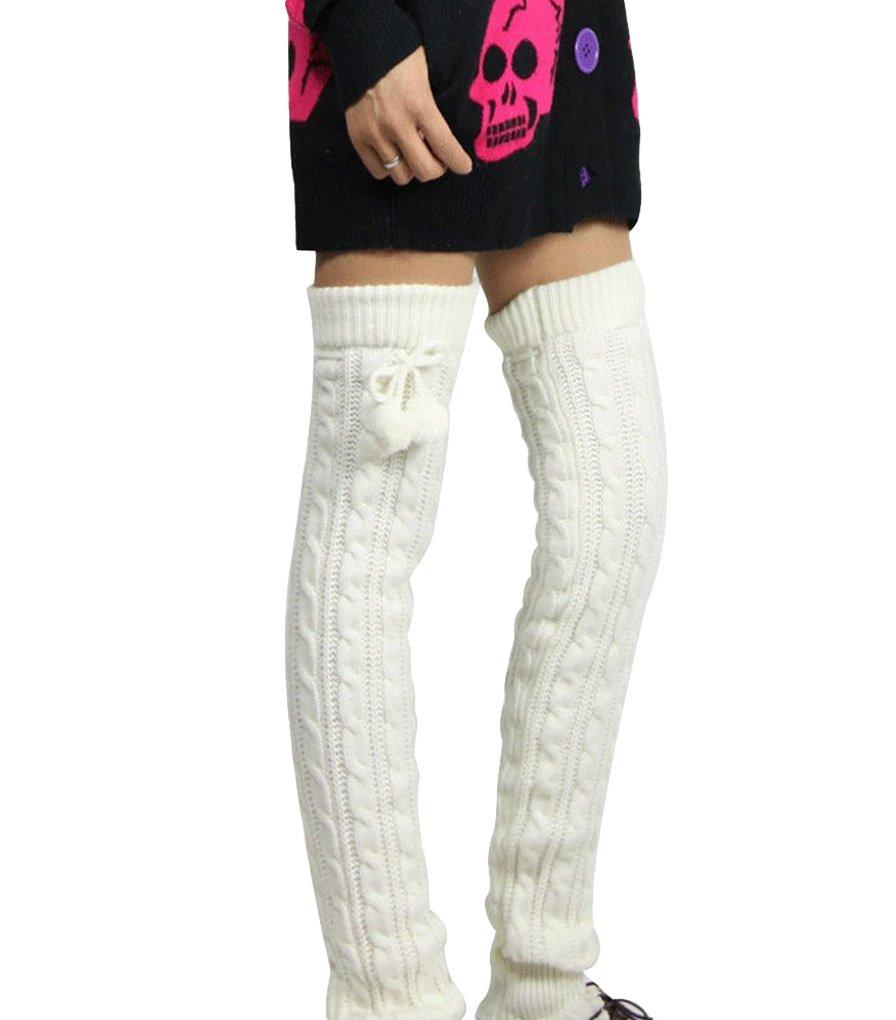 Nanxson(TM) Women's Super Long Cable Knit Leg Warmers in Your Choice of Colors TTW0002 white