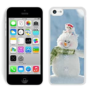Diy Iphone 5C TPU Rubber Protective Skin Happily Smile Snowman White iPhone 5C Case 1
