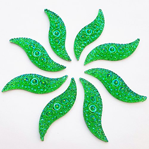 (15x48mm Gorgeous Amazingly Big S Shape Green AB Sew On Rhinestones Resin Beads Stones Sewing For Wedding Dress Decorations 2 Holes 30pcs)