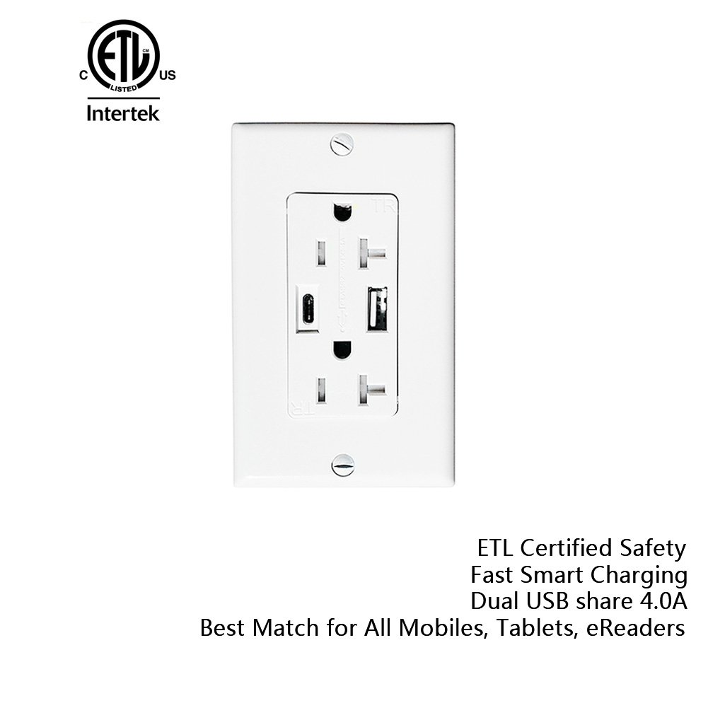 a adwits usb c wall receptacle outlet 4 0amp 5v 20w smart fast rh amazon com