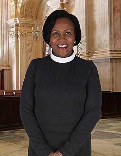 Women's Black Long Sleeve Jersey Knit Clergy Shirt - Neckband Collar