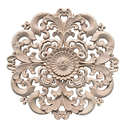 Jiyaru 1pc Wood Carved Flower Decal Unpainted Onlay Applique Furniture Decor 15cm #2