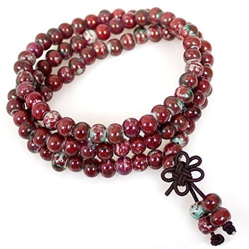 Mala,108 Beaded Ceramic Fashion Buddhist Prayer Mala Beads Porcelain Elastic bracelets Necklace(red porcelain beads ) - Red Jade Beaded Bracelet