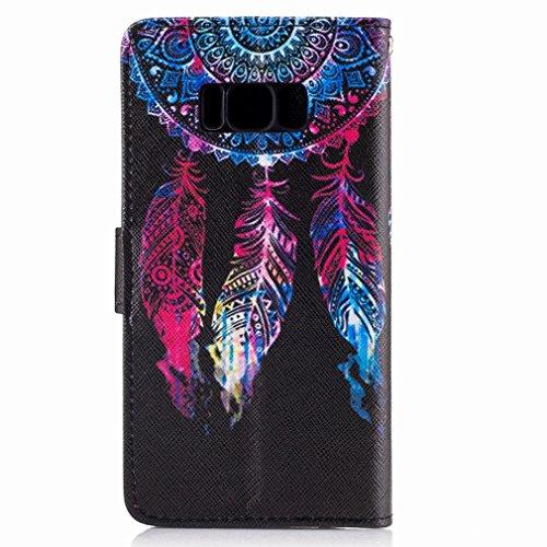 Yiizy Samsung Galaxy S8 Funda, Pluma Roja Diseño Solapa Flip Billetera Carcasa Tapa Estuches Premium PU Cuero Cover Cáscara Bumper Protector Slim Piel Shell Case Stand Ranura para Tarjetas Estilo