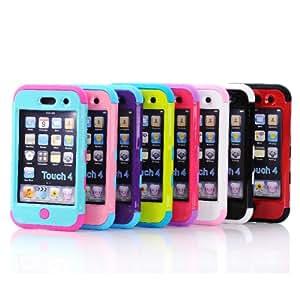 3 En 1 híbrido caso de la cubierta trasera protectora de silicona para el iPod Touch 4: Azul