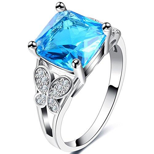 TEMEGO Elegant Princess Cut Blue Topaz Ring,10k White Gold Small CZ Vintage Retro Flying Butterfly Ring
