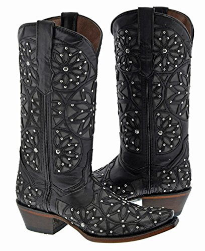 Golden Guns - Mujeres Black Studded Overlay Leather Botas Vaqueras Negras