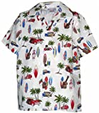 Pacific Legend Boys Woodie Surfboard Outing Shirt WHITE L