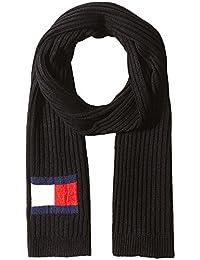 Tommy Hilfiger Unisex Knit Logo Scarf, Black, One Size