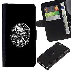 Blanco/TaiTech dHandy Wallet funda de protección - cráneo-negro Kranz Apple iphone 6 - fumen blanco
