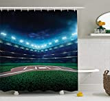 Pillowcase Sports Decor Shower Curtain Set, Professional Baseball Field at Night with Spotlights Playground Stadium League Theme, Bathroom Accessories,Green Blue 60X72 Inch