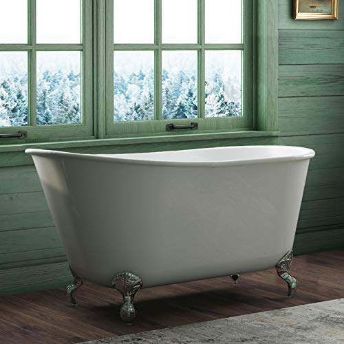 58' Cast Iron Swedish Tub with NO Faucet Holes & Chrome Feet-'Holt'