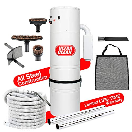 Ultra Clean Central Vacuum Unit 7,500 sq. ft. with 30′ Hose Cleaning Attachment Set