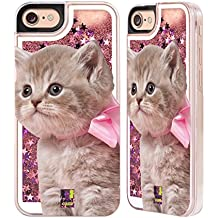 Case+Film+Stylus+Wrap+Cap Hard Back Cover Fits Apple iPhone 6/6S/7/7S/8 LIQUID GLITTER Pink Cat/Kitty/Kitten with Bow