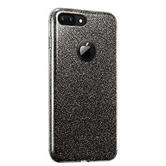 Dqueen-au iPhone 7 Plus Case, Glitter Sparkle Bling 3-in-1 Case Shockproof Soft Hybrid Slim Fit TPU Hard Back Cover Shining Fashion Style for Apple iPhone 7 Plus 5.5'' (iPhone 7 Plus, Black)