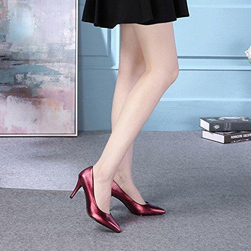 Donna Donna 8cm EU 5 Sexy Vacchetta da da da di Scarpe 5 in UK Scarpe Moda Red 38 Pelle Corte Lavoro Tacchi Scarpe Sposa Vera Alti RqrR4O