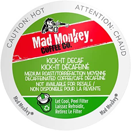 Mad Monkey Single Serve Coffee Capsules, Kick It Decaf, 48 Count