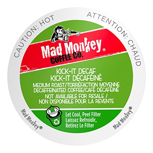 Mad Monkey Single Serve Coffee Capsules, Kick It Decaf, 48 Count ()