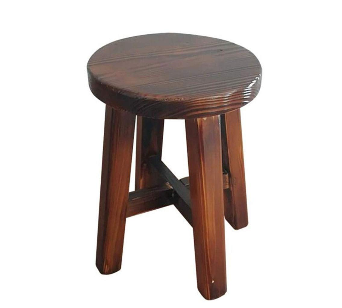 FGSJEJ Wooden Dining Room Stool Bar Stool Small Wooden Bench Solid Wood Stool Footstool Storage Low Stools Round Pouffes Chair Sitting Cushion Feet Stool (Color : Brown, Size : One Size)