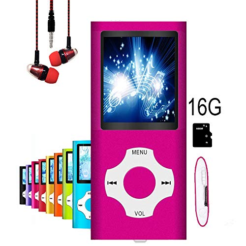 "MP3 Player / MP4 Player, MP3 Music Player, Mini USB Port 16GB Memory Slim Classic Digital LCD 1.82"" Screen MP3 Music/Audio/Media Player with FM Radio, Voice Record (Pink-16gb)"